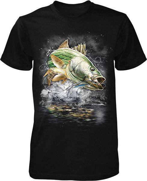 Alta calidad personalizada Top O-cuello de manga corta para hombre a rayas Striper Eat Sleep Fish camiseta de los hombres T Shirt
