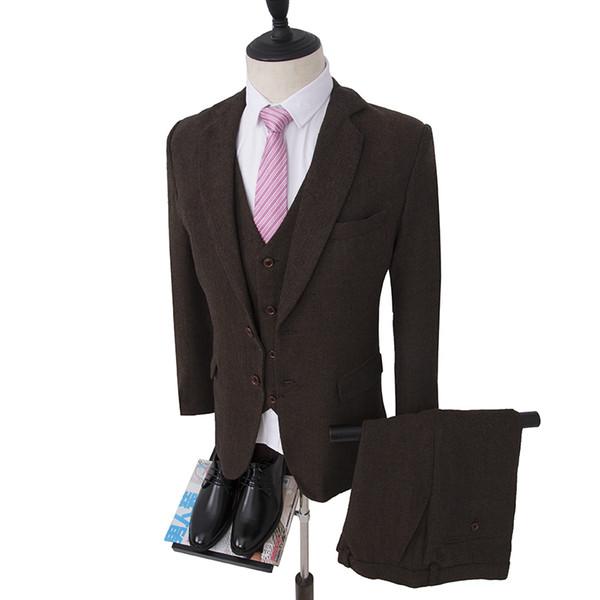 Marrom escuro terno do casamento Único Breasted noivo smoking Harringbone Blazer para Groomsman terno Custom Made Man Suit (jaqueta + calça + colete)