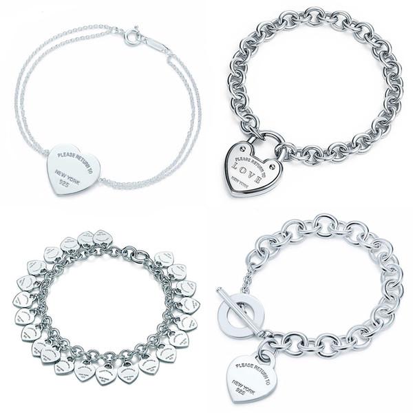 Coeur Forme Bracelet Bracelet Marque 925 En Argent Sterling Coeur Signe Pendentif Simple Design Pour Les Femmes Élégant Fine Jewelry logo