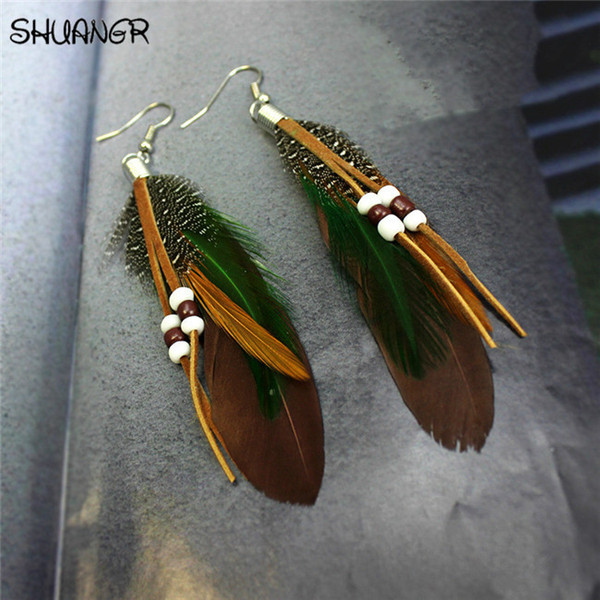 SHUANGR Hot sale Fashion Bohemia Charms Womens Vintage Dangle Earrings Exaggeration Feather Beads Big Drop Earring Jewelry 2017