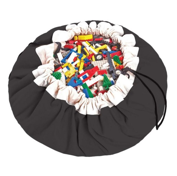 140CM Mother Care Solid Black Bags Baby Play Pouch Kids Play Mat Blanket Canvas Toys Storage Bag Mummy Opbergtas Travel Round Carpet Zak
