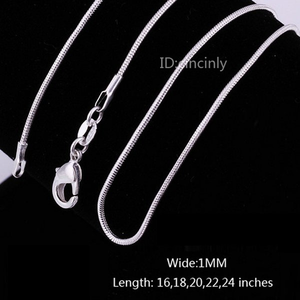 Hot New 100pcs/lot High quality 925 Sterling Silver Charms Smooth Snake Chain Necklace 1MM 16-24inches Fashion Jewelry free shipping