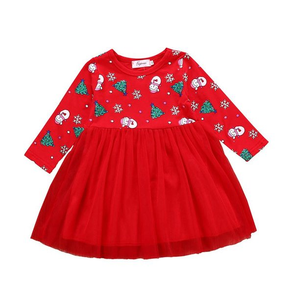 Baby girls Christmas snowman tree print dress Children Xmas Tulle lace princess dresses 2018 Autumn fashion Boutique Kids Clothing