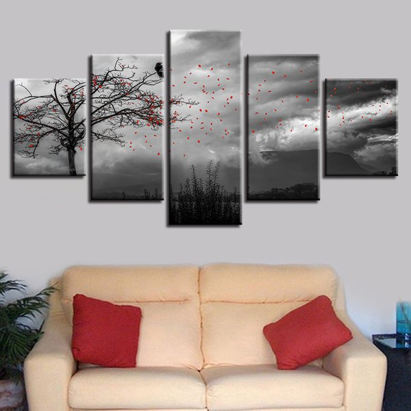 Black And White Picture Printing Decor Wall Art 5 Pieces Flowers Flying In The Sky And Tree Bird Scenery Modular Canvas Painting