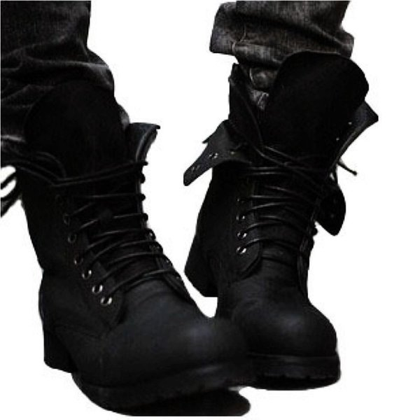 Free Shipping Hot Retro Combat Boots Winter England-style Fashionable Men's Short Outdoor Black Shoes Winter Military Boots