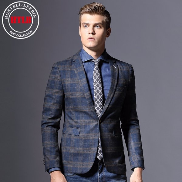 HTLB New Brand England Fashion Men Checked Blazer Suit Jackets Masculin Slim Fit Male Casual Blaser Italy Wedding Business Suits
