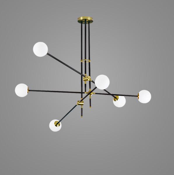Guest room study glass ball molecules pendant lamp post-modern simple American magic beans long pipe pendant light