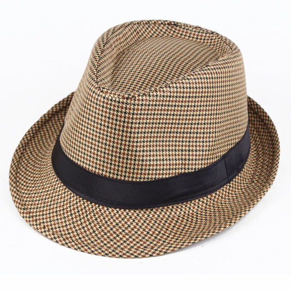Unisex Wool Houndstooth Felt Fedora Hat With Bands Classic Plaid Jazz Top Caps Panama Bowler Brim Caps For Gentleman