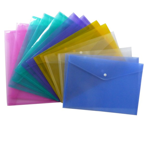 600pcs A4 File Folder Transparent Plastic Document Bag Hasp Button Classified Storage Stationery Bag File Holder
