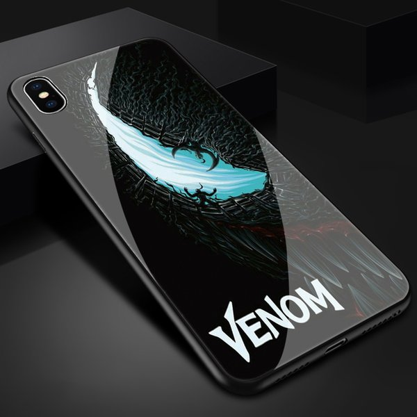 Free Shipping luxury tpu+Tempered Marvel comics venom Phone case for iphone X XR XS Max 7 6 6S 8 plus cases funny design cover
