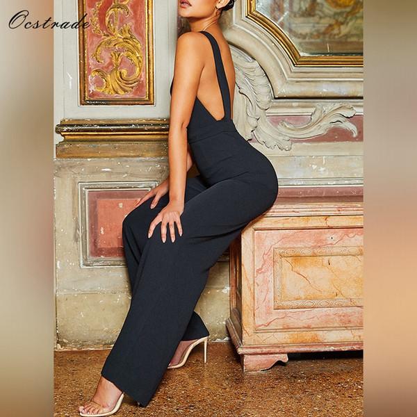 Ocstrade Mujeres Bodycon Sexy Jumpsuit Verano 2018 Nueva Llegada Elegante Babero Negro Parte Delantera Crepe Mono Trajes Clubwear
