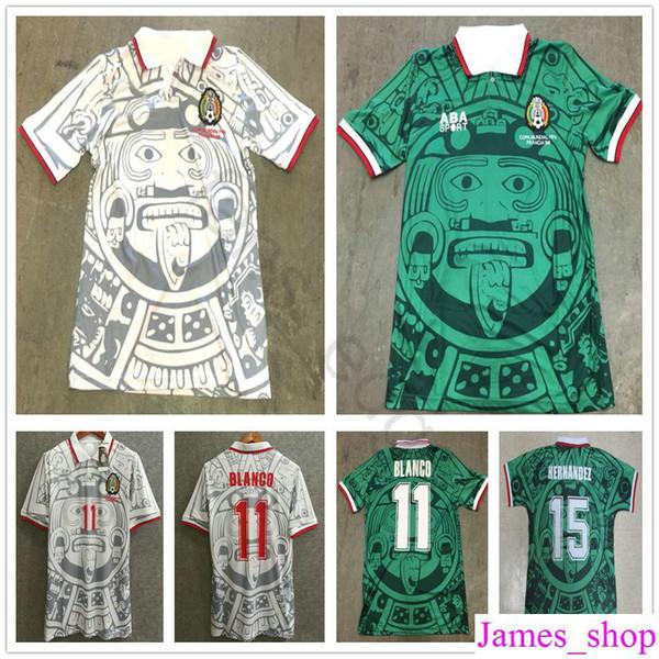 1998 Mexico World Cup Classic Vintage Retro Jersey Campos Hernandez BLANCO Custom Home Green White Mexico football shirt camiseta futbol