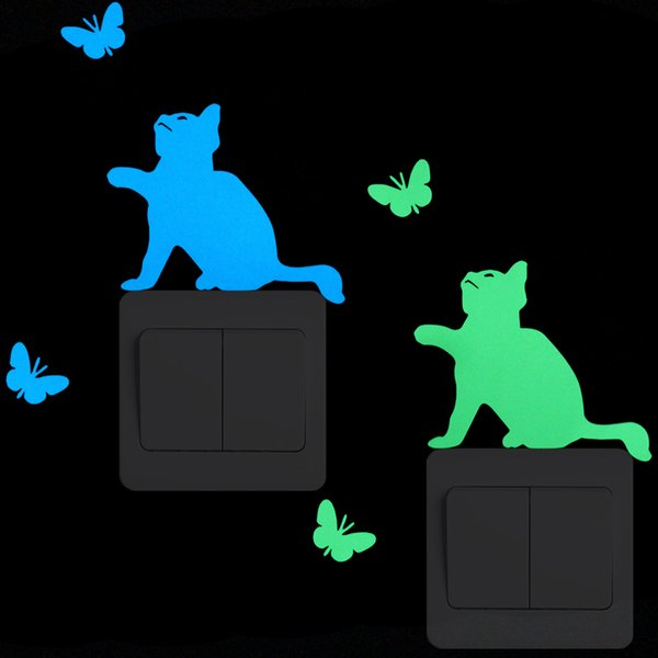 Brillan en la oscuridad del gato Mariposa Interruptor Pegatina Luminoso de dibujos animados etiqueta de la pared habitación de los niños Dormitorio de los niños DIY decoración calcomanías