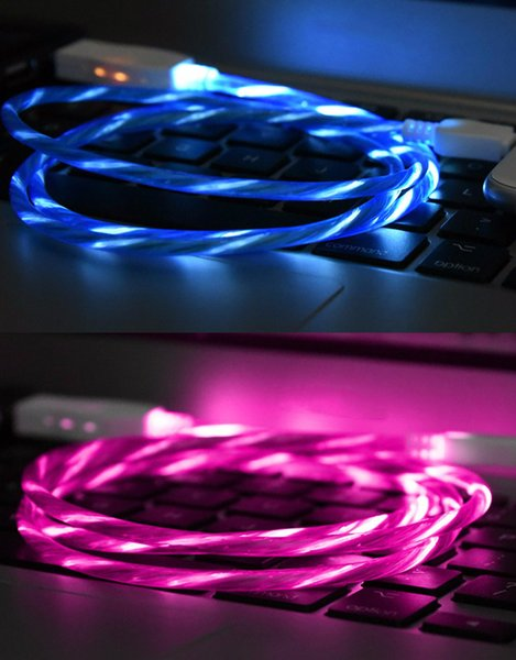 New Streamer data line network red mobile phone charging line Android iphone7Type-C vibrato the same kind of running lights