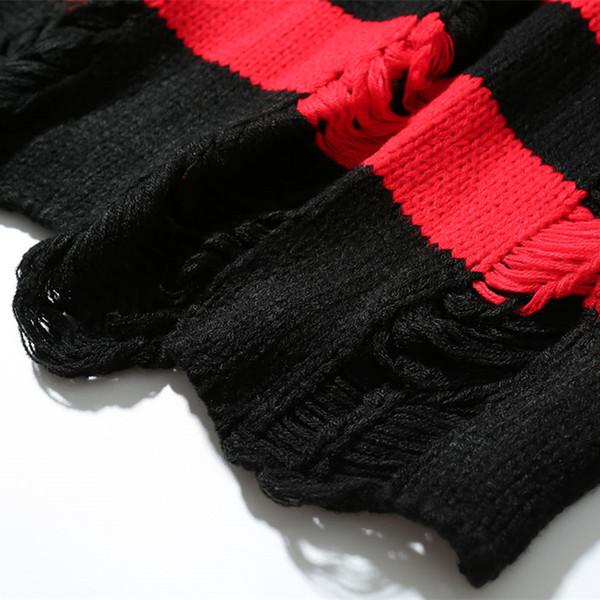 Schwarz Rot Gestreiften Loch Stricken Pullover Herbst Winter