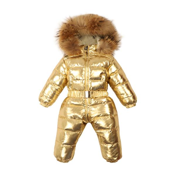 1~5Y Russian Winter baby Shiny Ski Snowsuit Warm Down Romper Real Raccoon Fur Fleece Lining Girls Overalls For a Boy Kombenizon
