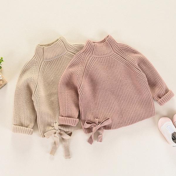 Jersey de jersey de cuello alto para niños Ropa de punto cálida y sólida Algodón puro Espesar Jumper Ropa de lana gruesa Arco para el borde Evitar los suéteres electrostáticos