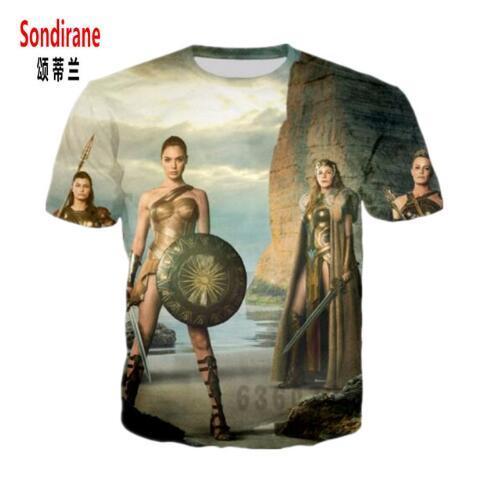 Sondirane Design Womens/Men Short Sleeve T Shirt Wonder Woman Movie Funny 3D Print T-Shirt Cool Male Summer Hip Hop Tops Tees