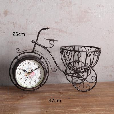 Retro creative home metal crafts living room double-sided silent clock decorative ornaments bicycle seat