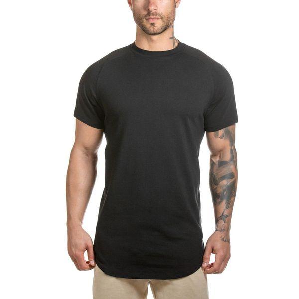 Fitness Gyms Sport T Shirt Men Running Tshirts Curved Hem Long Line Gym T-shirt Male Bodybuilding Workout Shirts Mens Tee Shirts