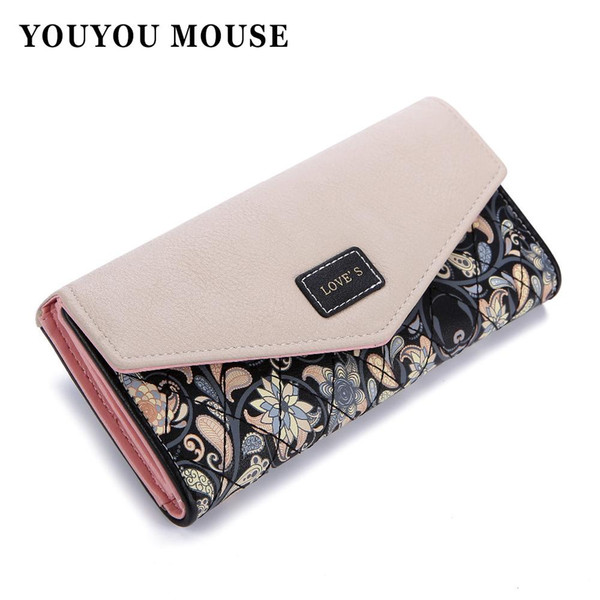 Wholesale- YOUYOU MOUSE Envelope Women Wallet Hit Color 3Fold Flowers Printing 5Colors PU Leather Wallet Long Ladies Clutch Coin Purse