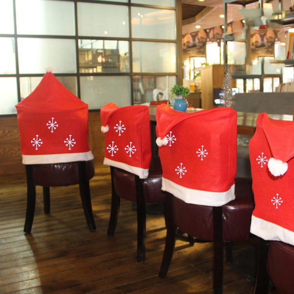 1Pc Christmas Hats Snowflake Chair Cover Cap Christmas Table Decoration for Home New Year Decoration