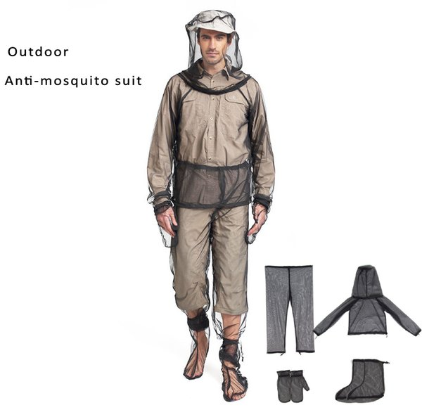Outdoor Anti-mosquito 4 in 1 clothes suit jacket&trousers& Gloves& Shoes covers mosquito protection system mosquito protection