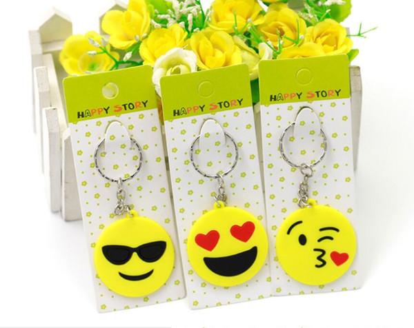 Heißer Verkauf QQ Emoji Schlüsselketten kleines Keychain Gefühl-gelber QQ Ausdruck angefülltes PVC-Puppe Spielzeug 6 Entwurf emoji PVC-Schlüsselring geben Schiff frei