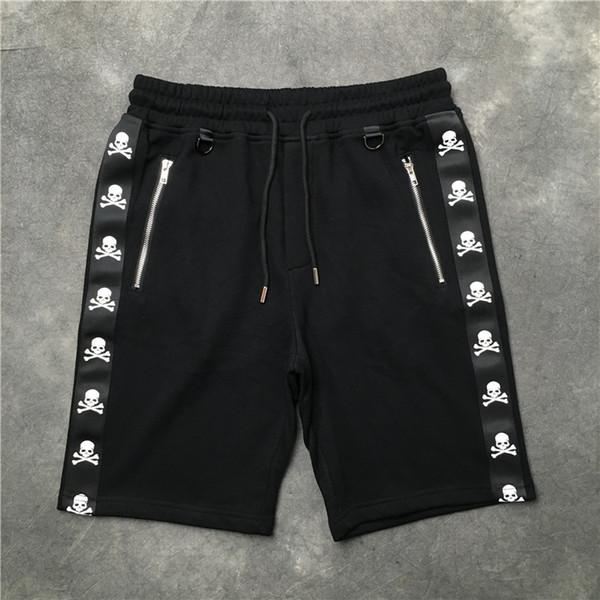 2018 Top quality kanye west Mastermind Giappone nastro stampa scheletro tasca cerniera uomo shorts hip hop coulisse pantaloncini
