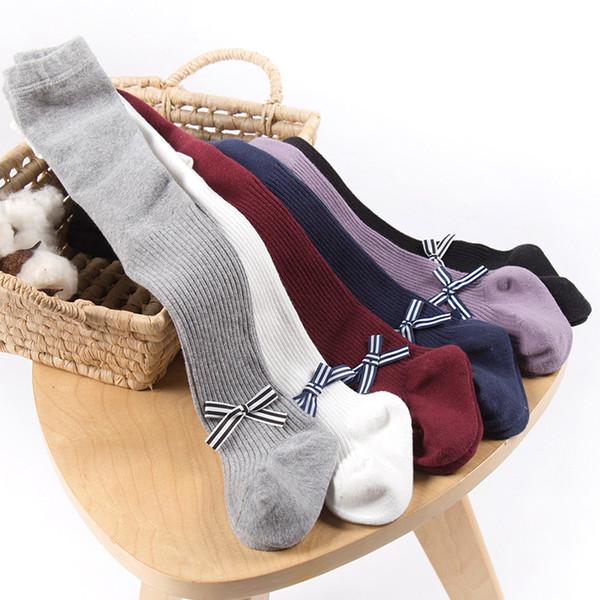 Neonate Bowknot Leggings Collant per bambini Calza Collant Bambino Cotone di qualità Cavallo aperto Infantile traspirante A righe autunno 6M-8T