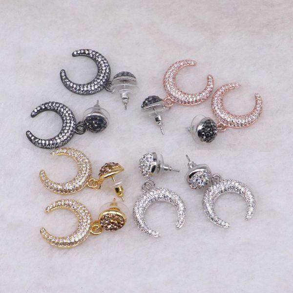 5 Pairs Tiny Crescent Moon Drop Earrings Double Horn Druzy Dangle Earrings Gems Stone Jewelry for Women