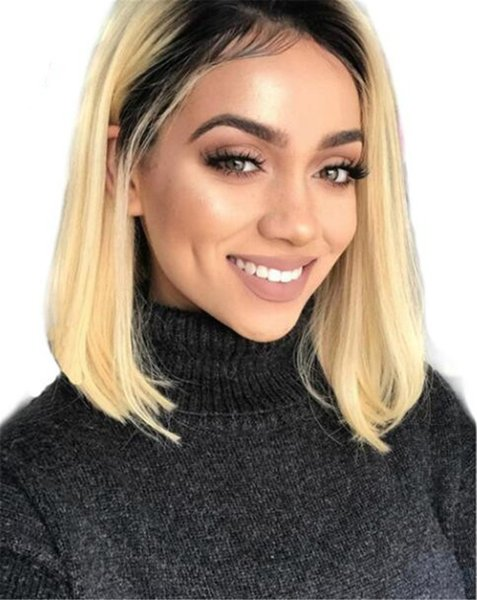 Bob Two Tone 1B #27 Ombre Human Hair Lace Front Wig Short Bob Brown Full Lace Wig For Black Women