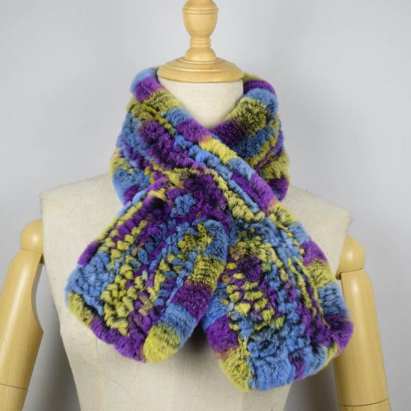 Real Rex Rabbit Scarf Short Style Genuine Fur Scarf Hand Knitted Winter Scarf Women Collar MS.MinShu