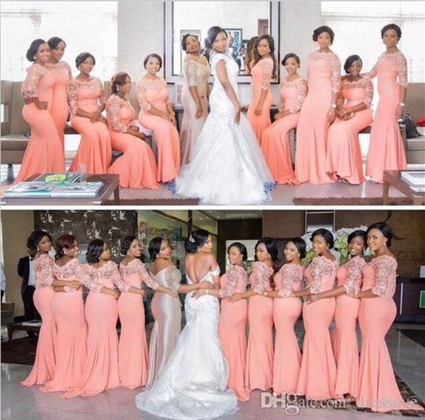 2018 Arabic African Coral Long Bridesmaid Dresses with Half Sleeves Plus Size Lace Mermaid Party Dress Bridemaids Dresses