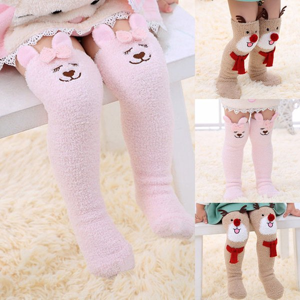 cfc49deed2480 Cute Kids Girls Knee High Socks Christmas Winter Warm Toddler Baby Girl  Cartoon Animal Leg Warmer