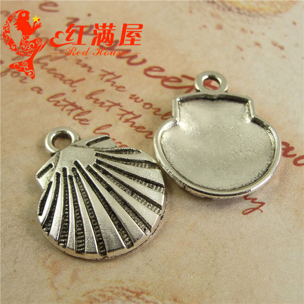 21 * 35MM Antique silver Marine série grand Seashell pendentif bijoux en gros DIY nautiques charmes shell vintage tibetan Dangles