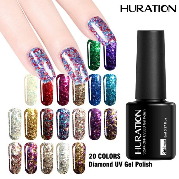 Huration Hot Sale Glitter Diamond 8ML Gel Varnish Art Nail Gel Polish 20 Color UV LED Lamp Semi-permanent Soak Off Lacquer
