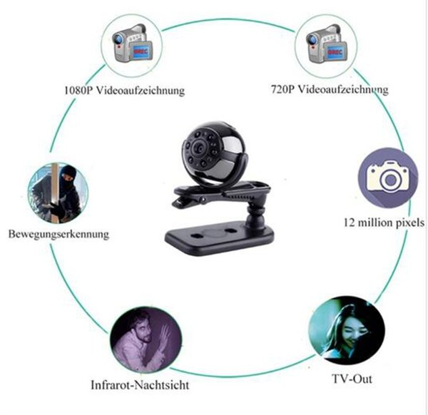 HD 1080P Kamera Sport Mini DV IR Nachtsicht Videorekorder DC 5V 200mAh