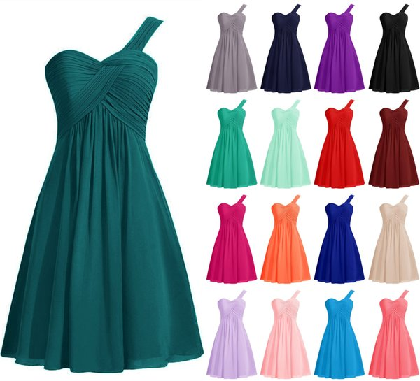 Free Shipping One Shooulder Short Bridesmaid Dress A Line Chiffon Cheap Mint Cocktail Dress 2018 Wholesale Women Wedding Party Gown