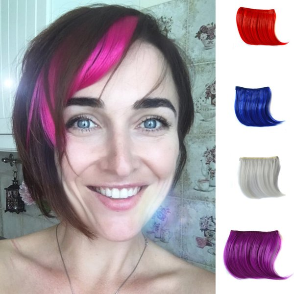 New hot Pretty Girls Women Clip On In Clip In Front Hair Bang Fringe Hair Extension Piece Thin Stand For Costume Party