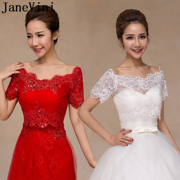 JaneVini Off the Shoulder Short Sleeve Lace Bolero Jacket Romantic Sequins Bridal Cape Lace-Up Back Wedding Jackets Women Accessories 2018