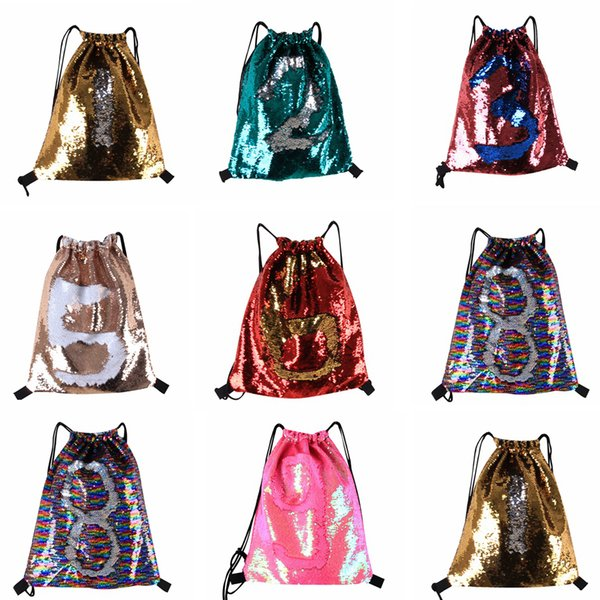 top popular Mermaid Sequin Backpack Sequins Drawstring Bags Outdoor Sports Backpack Glitter Sports Shoulder Bags Travel Bag 8 Styles 60pcs LJJO4840 2019