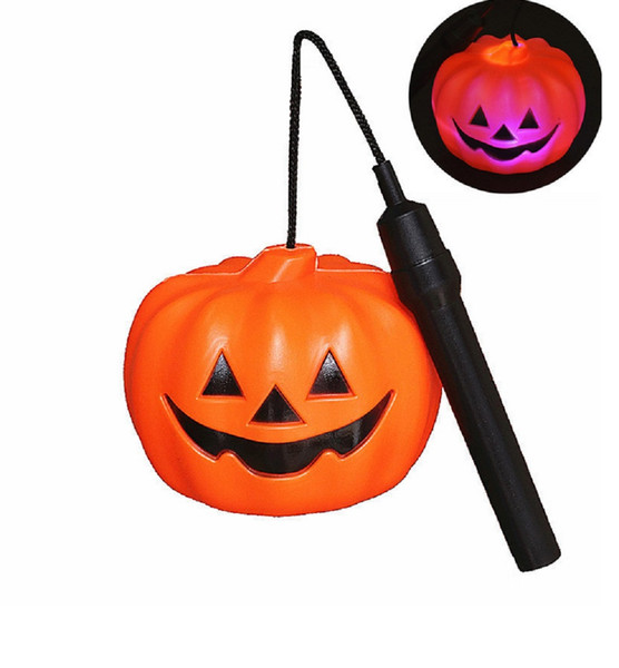Свет тыквы СИД 12CM Halloween с ручкой, управляемой батареей светильник фонарика Halloween Jack O