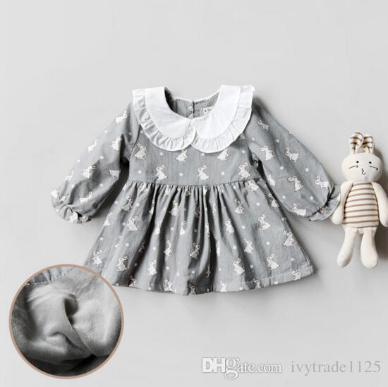 Ins selling Korean style girl full rabbit print dress long sleeve pet pan collar fall thick Dress 100% cotton little princess dress