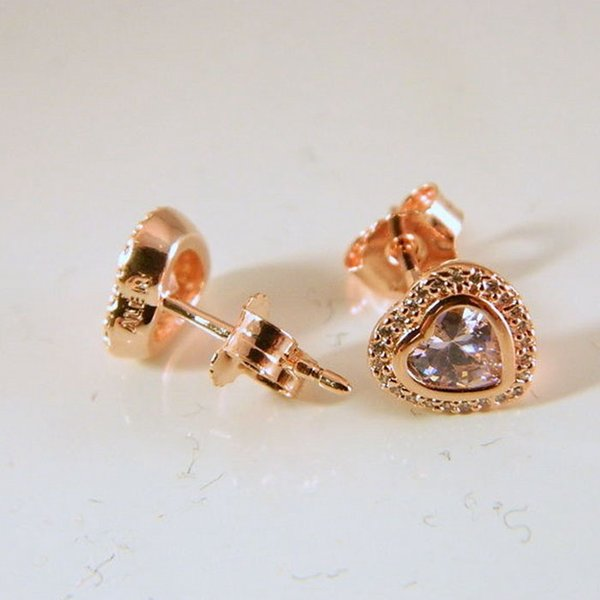 7cf6051e4 Rose gold heart stud earrings original silver fits for pandora style jewelry  280568PCZ H8ale H8