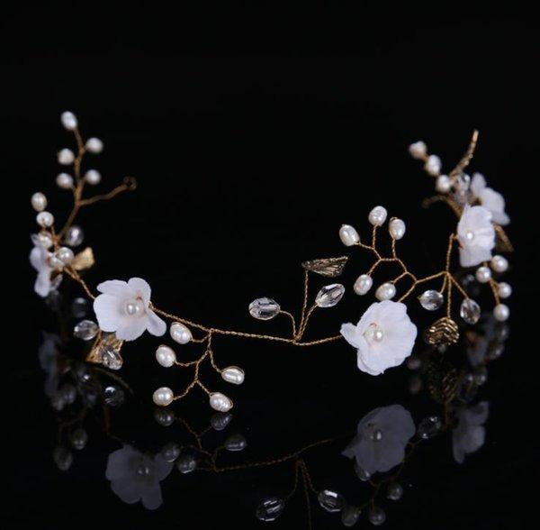Handmade freshwater beads, golden leaves, flowers, headwear, wedding gowns, accessories, headbands, bridal ornaments.