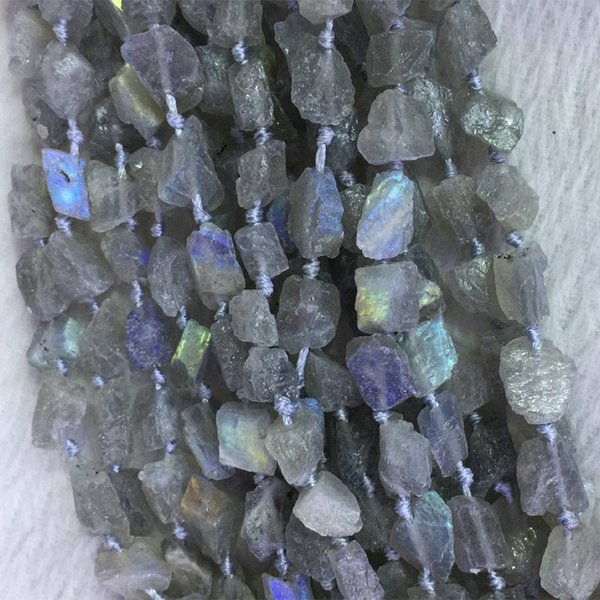 """Natural Genuine Raw Mineral Gray Blue Light Labradorite Hand Cut Nugget Free Form Loose Rough Matte Faceted Beads 9-12mm 15.5"""" 05366"""