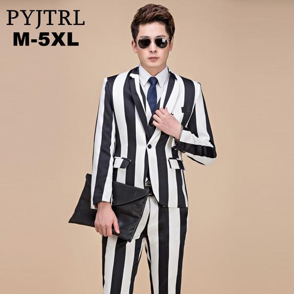 PYJTRL 2018 Plus Size M-5XL Tide Men Black White Strip Zebra Style Suits Jacket With Pants Fashion Casual Suit Tuxedos Slim Fit