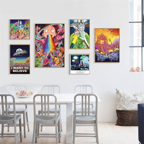 Rick And Morty Posters Coated Paper Living Room Bedroom TV Background Wallpaper Spray Painting Art Silk Fabric Wall Poster 5 88hz3 bb