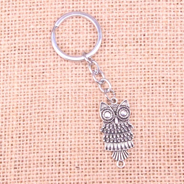 Fashion 28mm Key Ring Metal Key Chain Keychain Jewelry Antique Silver Plated owl connector 17*13mm Pendant